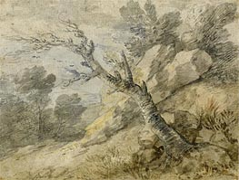 Landscape with Rocks and Tree Stump, Undated by Gainsborough | Painting Reproduction