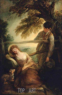 Haymaker and Sleeping Girl (Mushroom Girl), 1789 | Gainsborough| Painting Reproduction