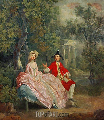 Conversation in a Park (Portrait of the Artist and his Wife, Margaret Burr), 1746 | Gainsborough| Gemälde Reproduktion