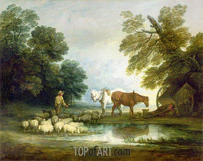 Shepherd by a Stream,  | Gainsborough| Painting Reproduction