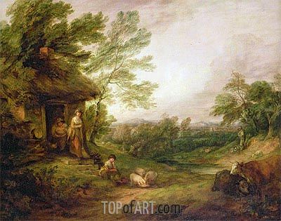 Cottage Door with Girl and Pigs, c.1786 | Gainsborough| Painting Reproduction