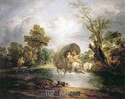 A Country Cart Crossing a Ford, c.1786 | Gainsborough | Painting Reproduction