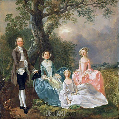 Mr and Mrs John Gravenor and their Daughters, Elizabeth and Ann,  | Gainsborough| Painting Reproduction