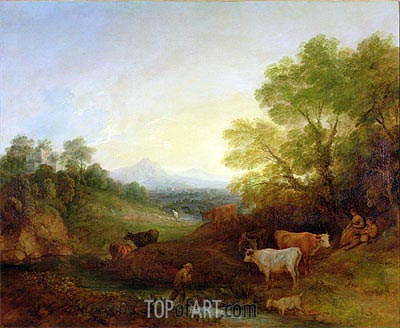 A Landscape with Cattle and Figures by a Stream and a Distant Bridge, c.1772/74 | Gainsborough | Painting Reproduction