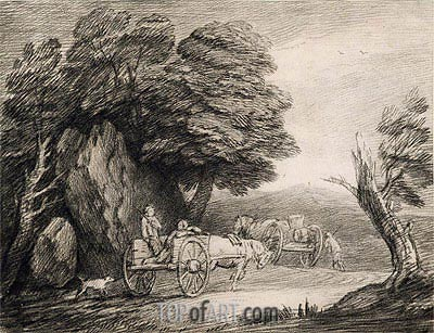 Wooded Landscape with Carts and Figures,  | Gainsborough| Painting Reproduction