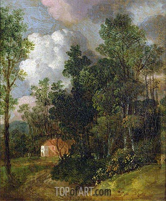 Wooded Landscape with Country House and Two Figures, c.1752 | Gainsborough | Painting Reproduction