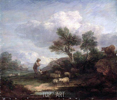 Landscape with Sheep,  | Gainsborough| Painting Reproduction