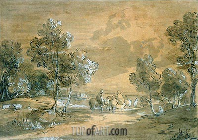 Gainsborough | An Open Landscape with Travellers on a Road,