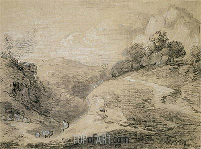 A Hilly Landscape with Shepherd and Sheep,  | Gainsborough| Painting Reproduction