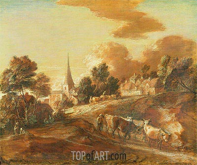 An Imaginary Wooded Village with Drovers and Cattle, c.1771/72 | Gainsborough| Painting Reproduction