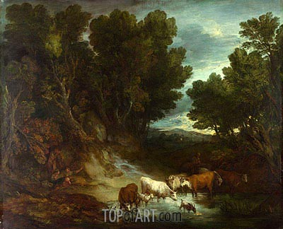 The Watering Place, b.1777 | Gainsborough | Painting Reproduction