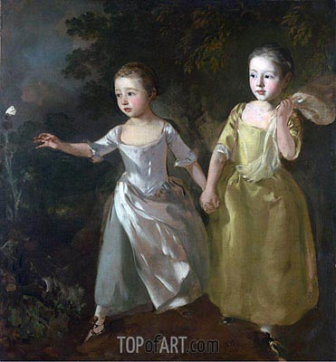 The Painter's Daughters Chasing a Butterfly, c.1756 | Gainsborough| Gemälde Reproduktion