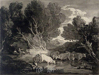 Wooded Landscape with Figures and Cows at a Watering Place, c.1776/77 | Gainsborough | Painting Reproduction