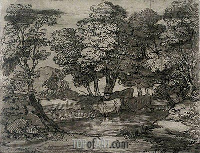 Wooded Landscape with Three Cows at a Pool,  | Gainsborough | Painting Reproduction