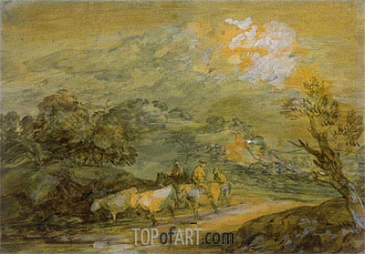Upland Landscape with Figures, Riders and Cattle, c.1780/90 | Gainsborough| Painting Reproduction