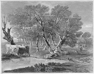 Wooded Landscape with Cows beside a Pool, Figures and Cottage, c.1775/80 | Gainsborough| Painting Reproduction