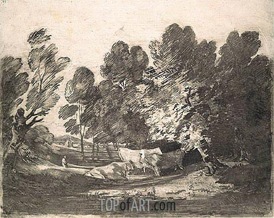 Wooded Landscape with Herdsmen and Cows, c.1780/88 | Gainsborough | Painting Reproduction