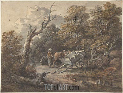 Woodland Scene with a Peasant, a Horse, and a Cart, c.1760 | Gainsborough | Painting Reproduction