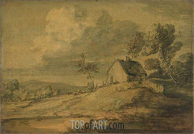 Wooded Landscape with Cottage, Cows and Sheep, c.1770 | Gainsborough | Painting Reproduction