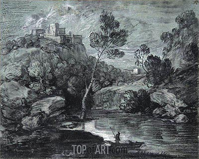 Mountain Landscape with a Castle and a Boatman, c.1780   Gainsborough   Painting Reproduction