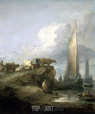 Coastal Scene with Shipping and Cattle, c.1781/82 | Gainsborough| Gemälde Reproduktion