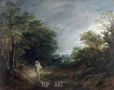 Wooded Landscape with a Woodcutter, c.1762/63 | Gainsborough | Painting Reproduction