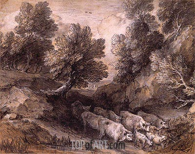 Wooded Landscape with Cattle and Goats,  | Gainsborough | Painting Reproduction
