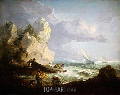 Seashore with Fishermen, c.1781/82 | Gainsborough | Painting Reproduction