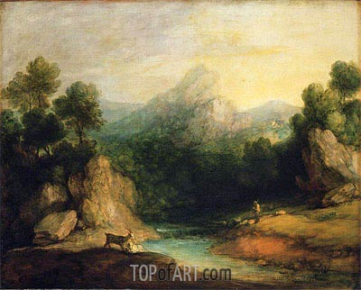 Pastoral Landscape (Rocky Mountain Valley with a Shepherd, Sheep, and Goats), c.1783 | Gainsborough | Painting Reproduction