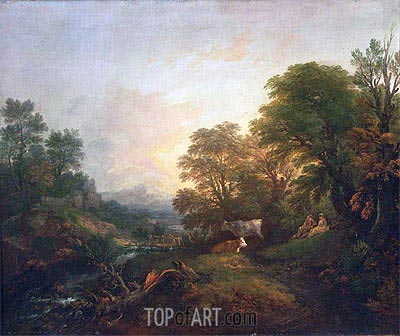 Gainsborough | Landscape with Rustic Lovers, Two Cows, and a Man on a Distant Bridge, c.1755/59