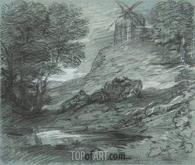 Gainsborough | Wooded Landscape with Rustic Lovers, Packhorses and Windmill,