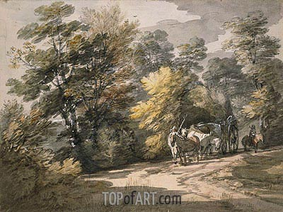 A Cart Passing along a Winding Road, 1765 | Gainsborough | Painting Reproduction