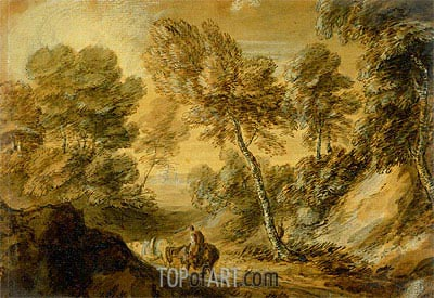 Wooded Landscape with Horseman and Pack Horse, c.1770 | Gainsborough| Painting Reproduction