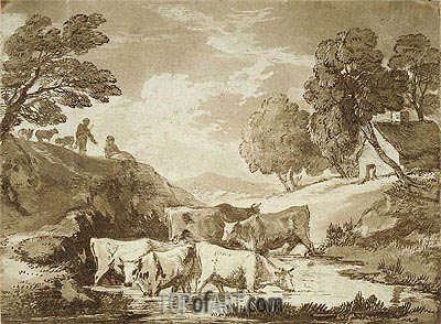 Wooded Landscape with Cows at a Watering Place, Figures and Cottage, c.1785 | Gainsborough| Painting Reproduction
