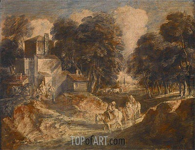 Landscape with Travelers, 1772 | Gainsborough| Painting Reproduction