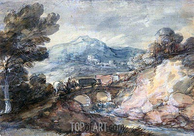 Landscape with Cattle Crossing a Bridge, 1785 | Gainsborough| Painting Reproduction