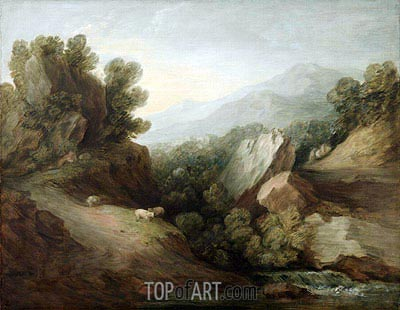 Rocky, Wooded Landscape with a Dell and Weir, c.1782/83 | Gainsborough| Painting Reproduction