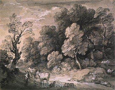 Wooded Landscape with Herdsman and Cattle, 1775 | Gainsborough | Painting Reproduction
