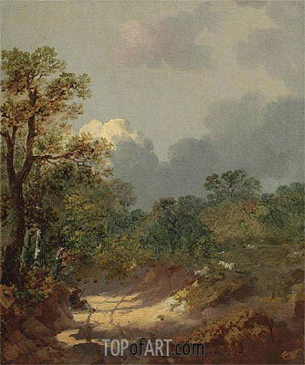 Wooded Landscape with a Shepherd Resting by a Sunlit Track and Scattered Sheep,  | Gainsborough| Painting Reproduction