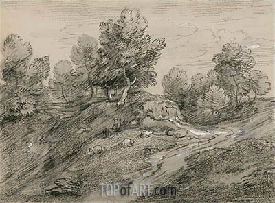 Wooded Upland Landscape with Shepherd and Sheep and Country Track Winding around a Knoll, c.1785 | Gainsborough| Painting Reproduction