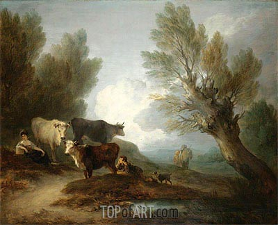 Landscape With Cattle, a Young Man Courting a Milkmaid,  | Gainsborough | Gemälde Reproduktion