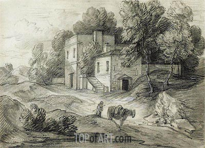 Wooded Landscape with Mansion, Figure and Packhorse,  | Gainsborough | Painting Reproduction