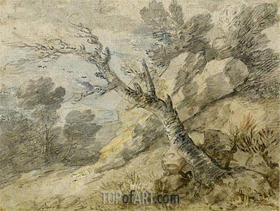 Gainsborough | Landscape with Rocks and Tree Stump, Undated