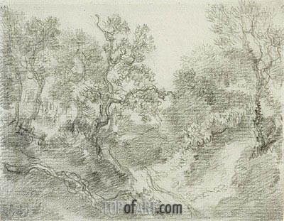 Wooded Landscape,  | Gainsborough | Painting Reproduction