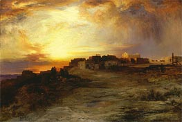 Pueblo at Sunset (Laguna), 1901 von Thomas Moran | Gemälde-Reproduktion
