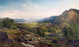 Shepherdess Watching Her Flock | Thomas Moran | veraltet