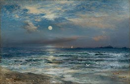 Moonlight Seascape, 1892 by Thomas Moran | Painting Reproduction