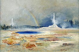 The Castle Geyser, Fire Hole Basin | Thomas Moran | Painting Reproduction