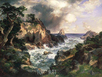 Point Lobos, Monterey, California, 1912 | Thomas Moran| Painting Reproduction