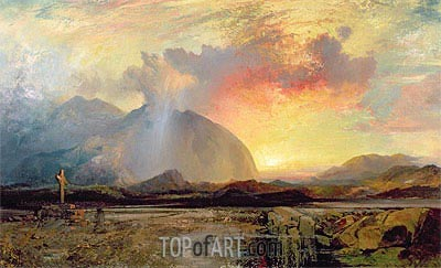 Sunset Vespers at the Old Rugged Cross,  | Thomas Moran | Painting Reproduction